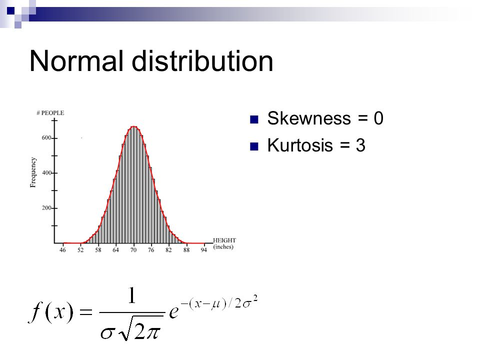 Normal distribution Skewness = 0 Kurtosis = 3