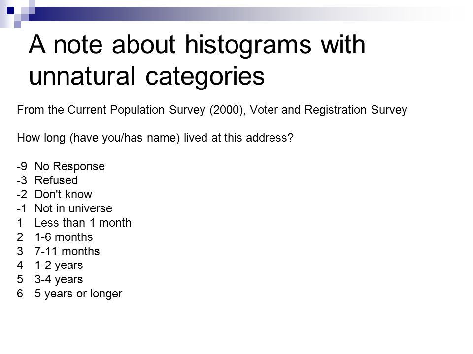 A note about histograms with unnatural categories From the Current Population Survey (2000), Voter and Registration Survey How long (have you/has name) lived at this address.