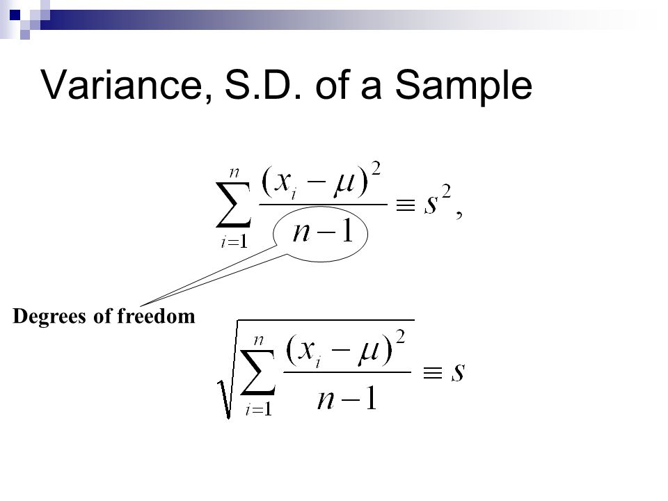 Variance, S.D. of a Sample Degrees of freedom