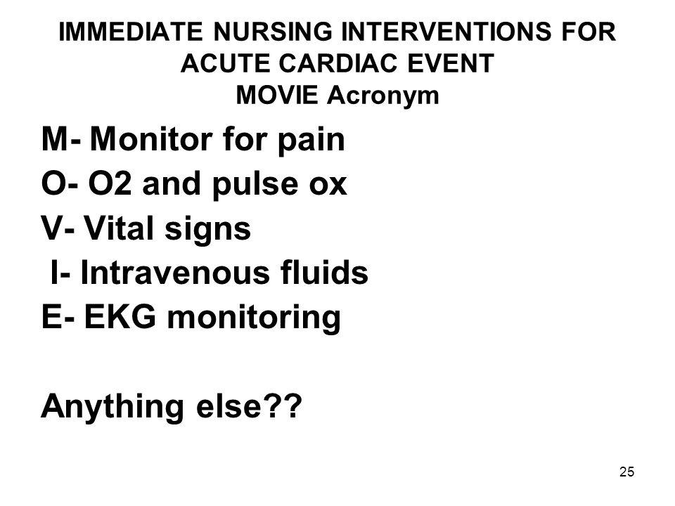 25 IMMEDIATE NURSING INTERVENTIONS FOR ACUTE CARDIAC EVENT MOVIE Acronym M- Monitor for pain O- O2 and pulse ox V- Vital signs I- Intravenous fluids E