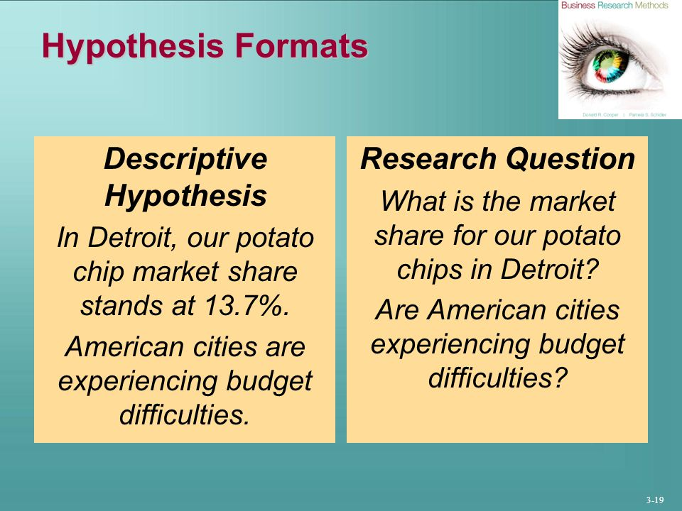 3-19 Hypothesis Formats Descriptive Hypothesis In Detroit, our potato chip market share stands at 13.7%.