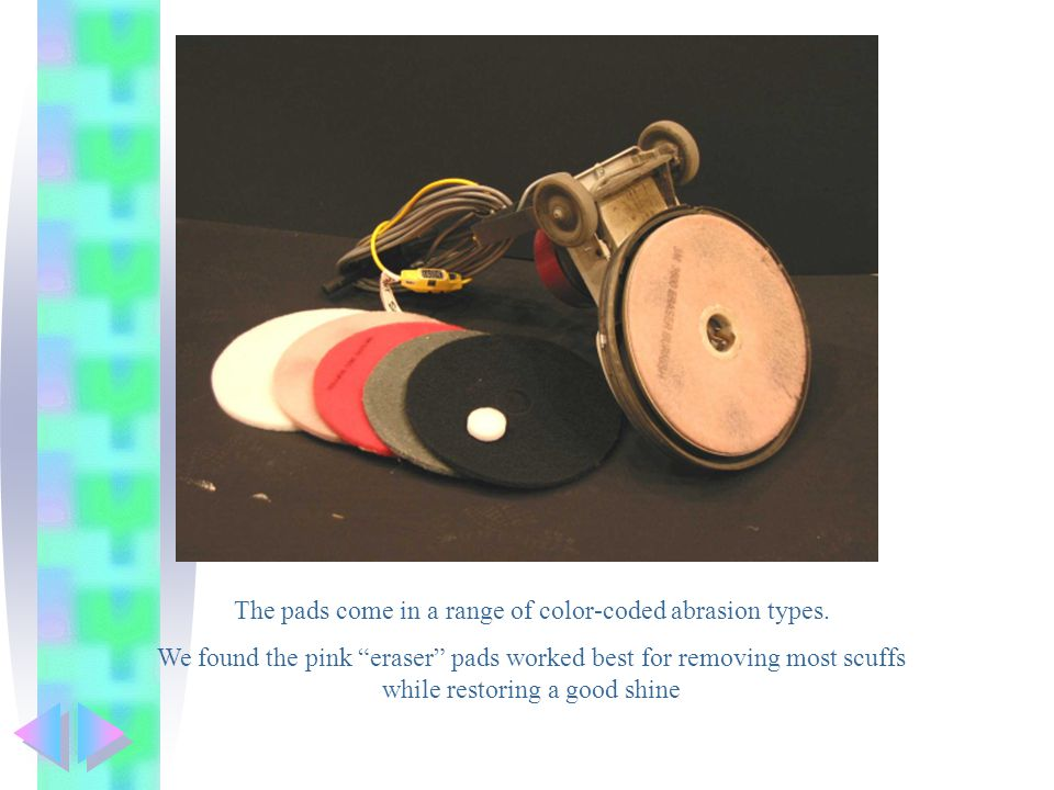 The pads come in a range of color-coded abrasion types.