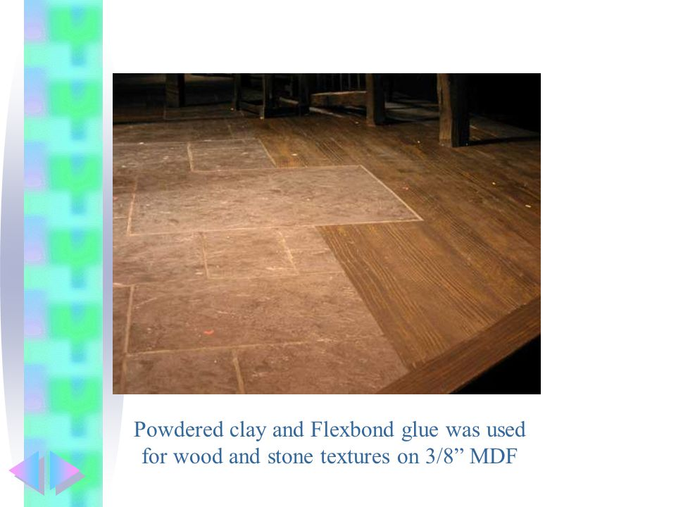 Powdered clay and Flexbond glue was used for wood and stone textures on 3/8 MDF