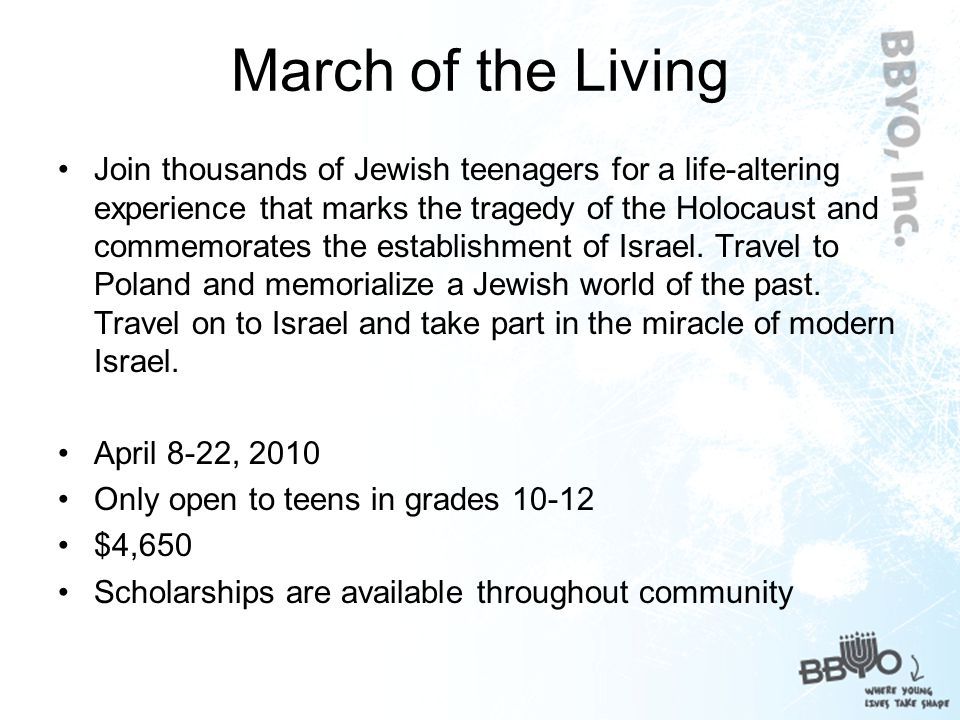 Opportunities for Teens The March of the Living Summer Programs Stand UP Campaign Leadership roles