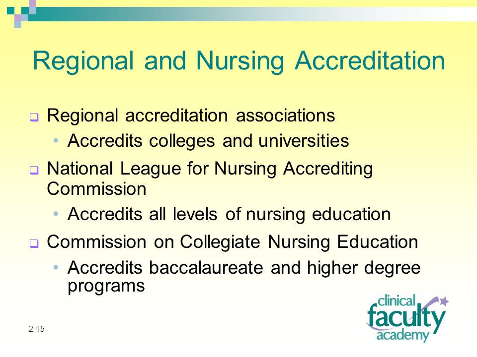 2-15 Regional and Nursing Accreditation  Regional accreditation associations Accredits colleges and universities  National League for Nursing Accrediting Commission Accredits all levels of nursing education  Commission on Collegiate Nursing Education Accredits baccalaureate and higher degree programs