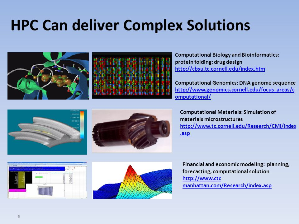 5 HPC Can deliver Complex Solutions Computational Materials: Simulation of materials microstructures http://www.tc.cornell.edu/Research/CMI/index.asp