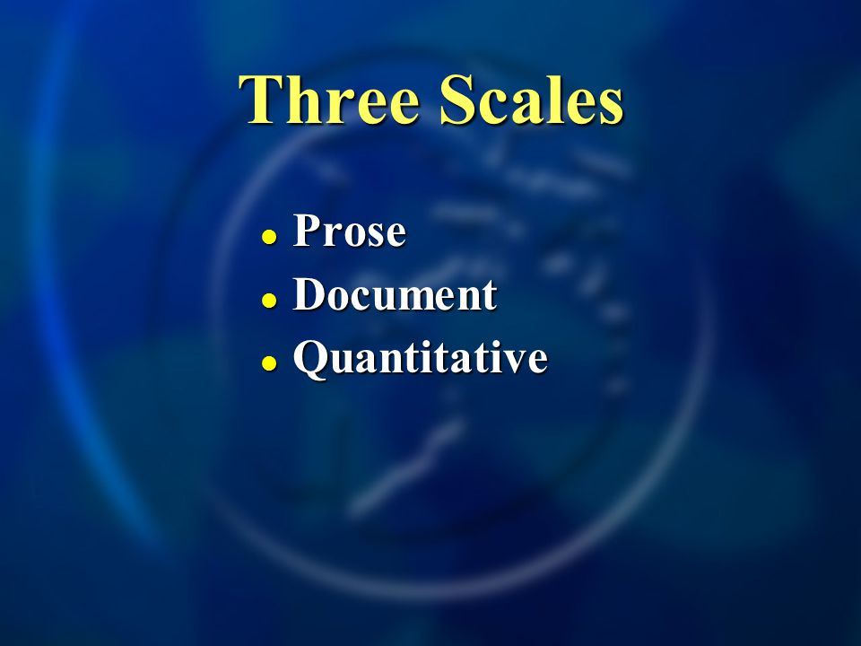 Three Scales Prose Prose Document Document Quantitative Quantitative