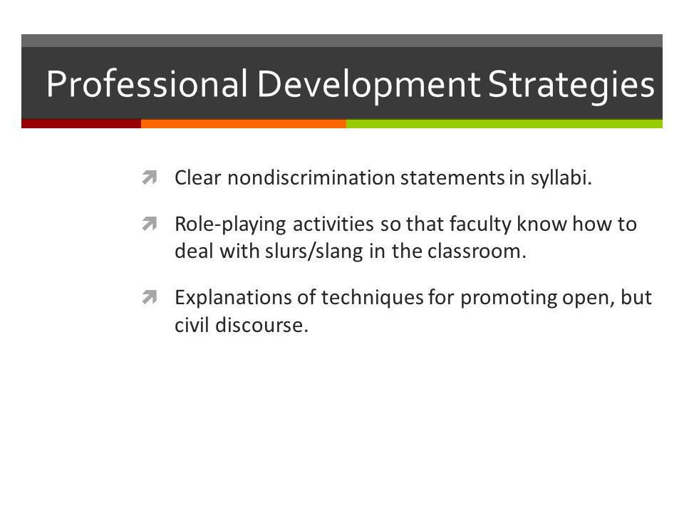 Professional Development Strategies  Clear nondiscrimination statements in syllabi.