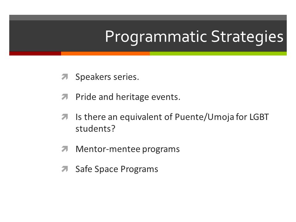 Programmatic Strategies  Speakers series.  Pride and heritage events.