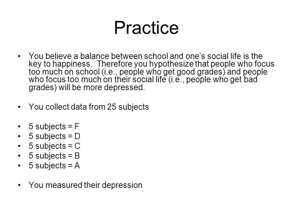 Practice You believe a balance between school and one's social life is the key to happiness.