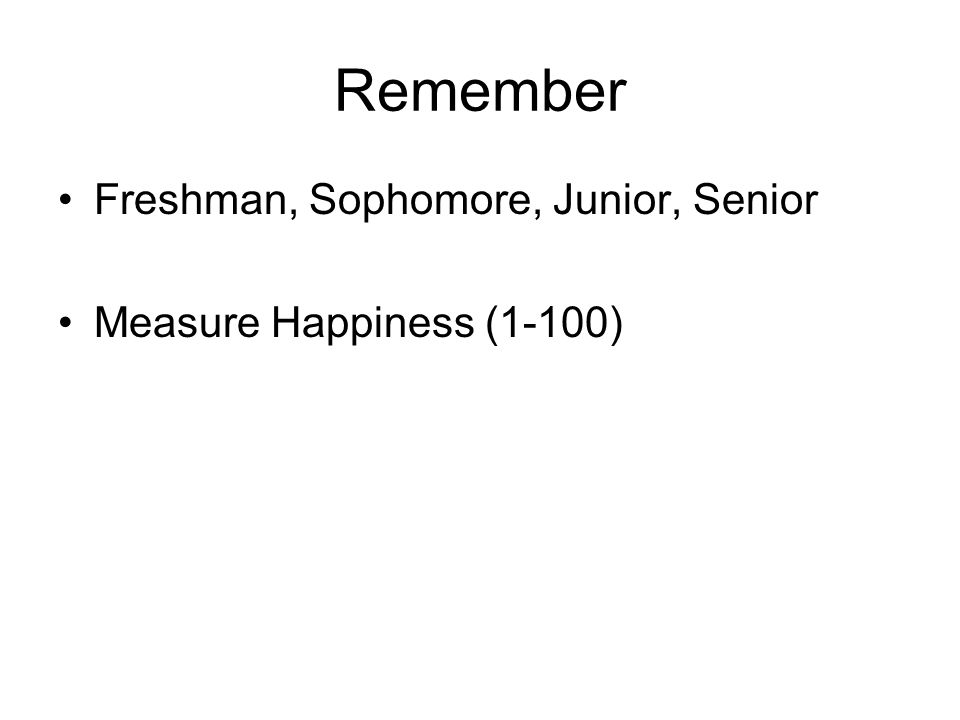 Remember Freshman, Sophomore, Junior, Senior Measure Happiness (1-100)