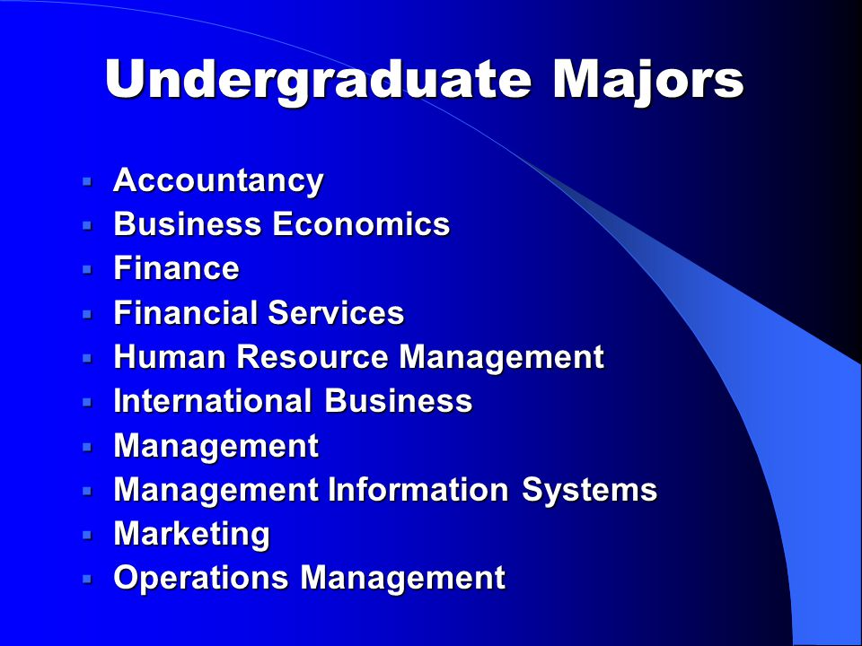 Undergraduate Majors  Accountancy  Business Economics  Finance  Financial Services  Human Resource Management  International Business  Management  Management Information Systems  Marketing  Operations Management