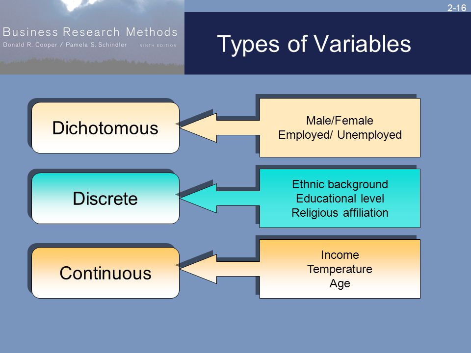2-16 Types of Variables Dichotomous Male/Female Employed/ Unemployed Male/Female Employed/ Unemployed Discrete Ethnic background Educational level Religious affiliation Ethnic background Educational level Religious affiliation Continuous Income Temperature Age Income Temperature Age
