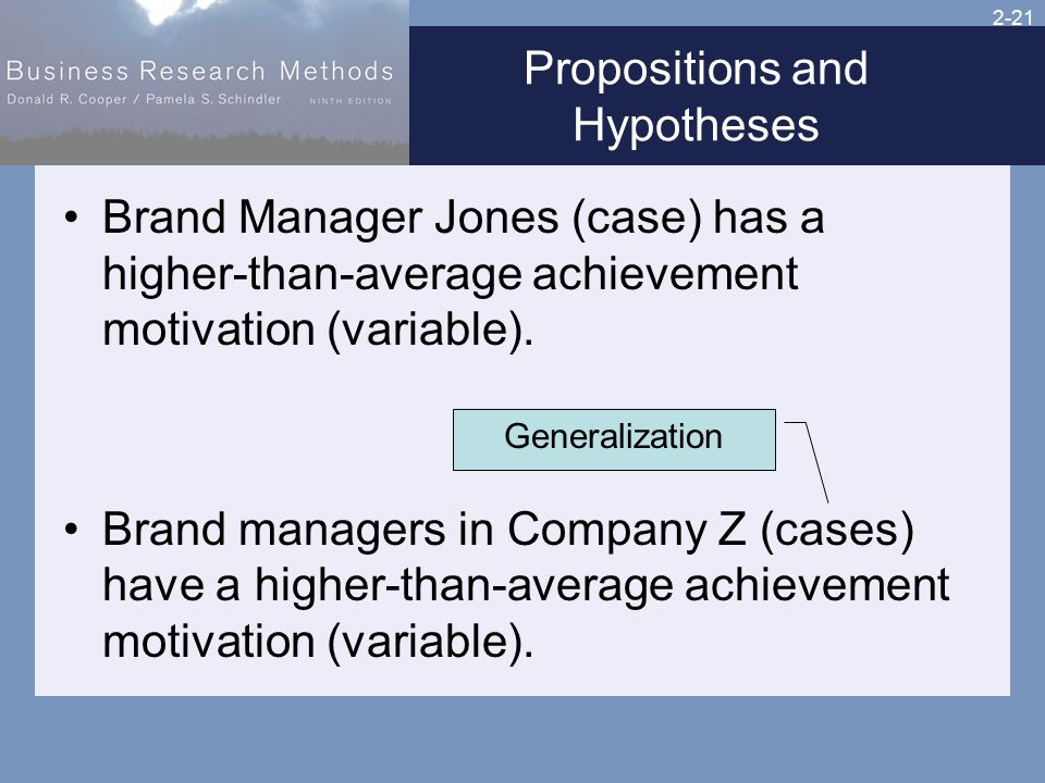 2-21 Propositions and Hypotheses Brand Manager Jones (case) has a higher-than-average achievement motivation (variable).