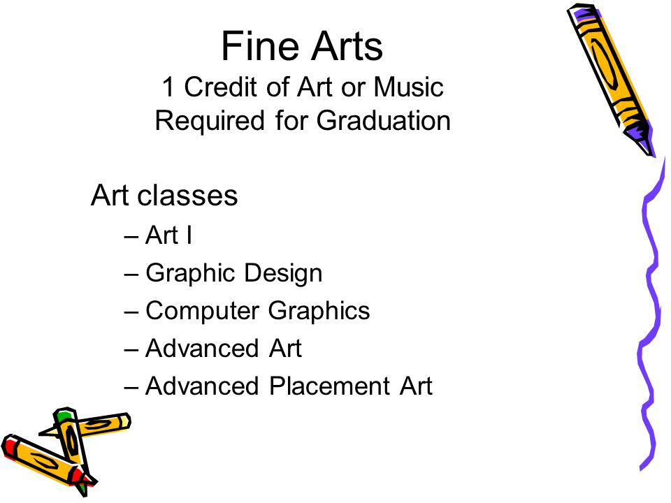 Fine Arts 1 Credit of Art or Music Required for Graduation Art classes –Art I –Graphic Design –Computer Graphics –Advanced Art –Advanced Placement Art