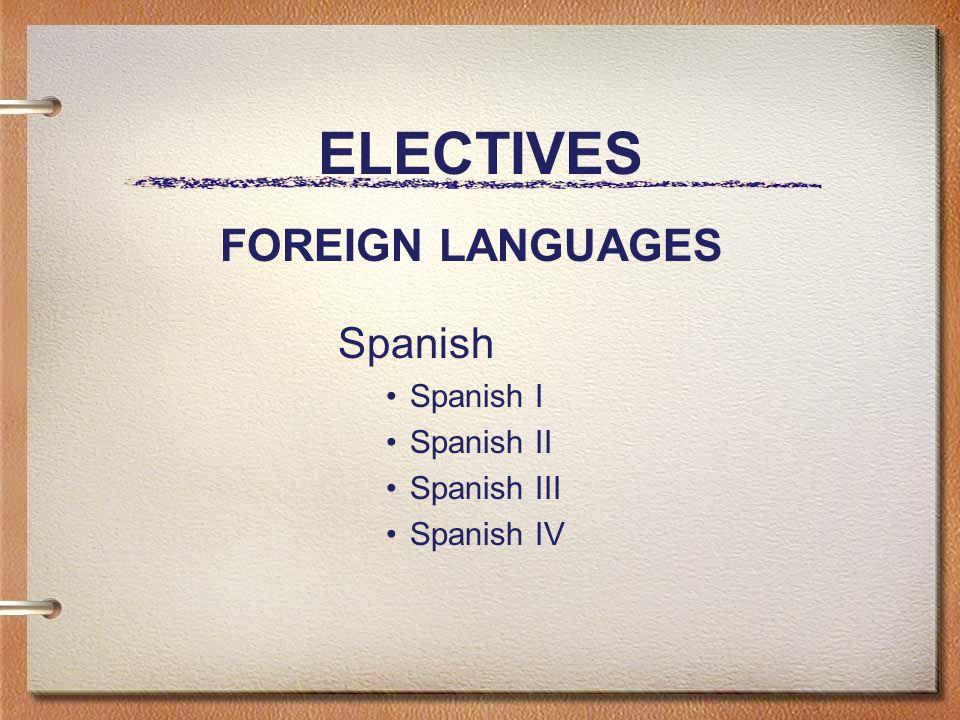ELECTIVES Spanish Spanish I Spanish II Spanish III Spanish IV FOREIGN LANGUAGES