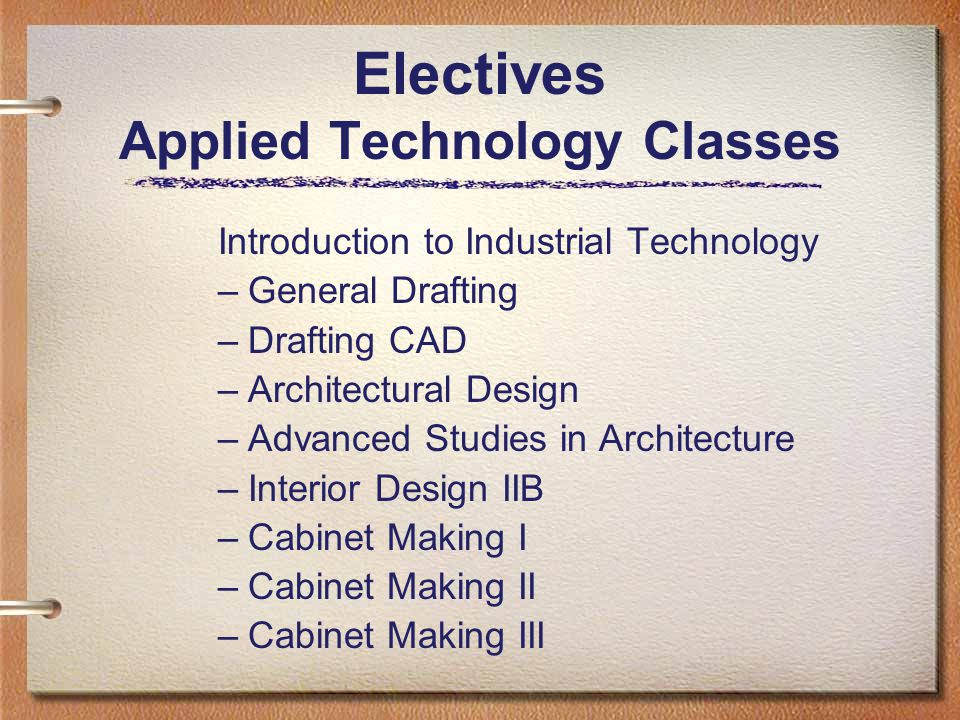 Electives Applied Technology Classes Introduction to Industrial Technology –General Drafting –Drafting CAD –Architectural Design –Advanced Studies in Architecture –Interior Design IIB –Cabinet Making I –Cabinet Making II –Cabinet Making III