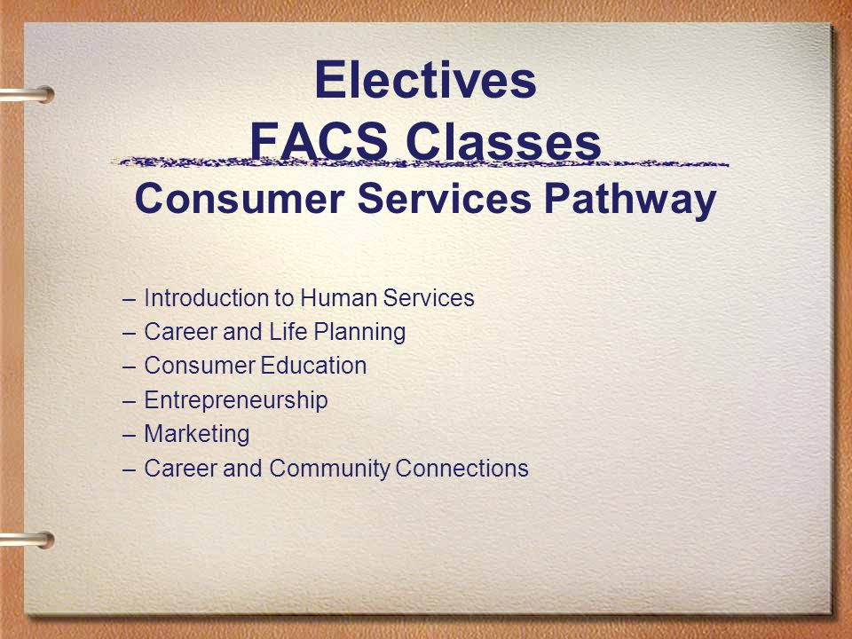 Electives FACS Classes Consumer Services Pathway –Introduction to Human Services –Career and Life Planning –Consumer Education –Entrepreneurship –Marketing –Career and Community Connections