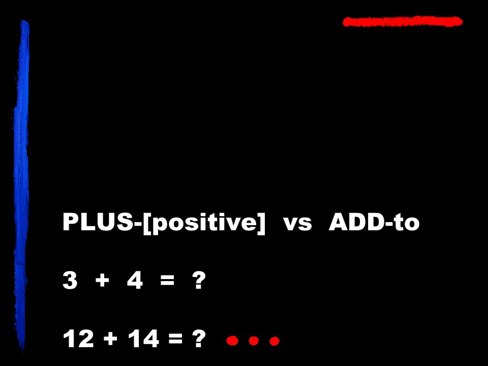 PLUS-[positive] vs ADD-to 3 + 4 = ? 12 + 14 = ?