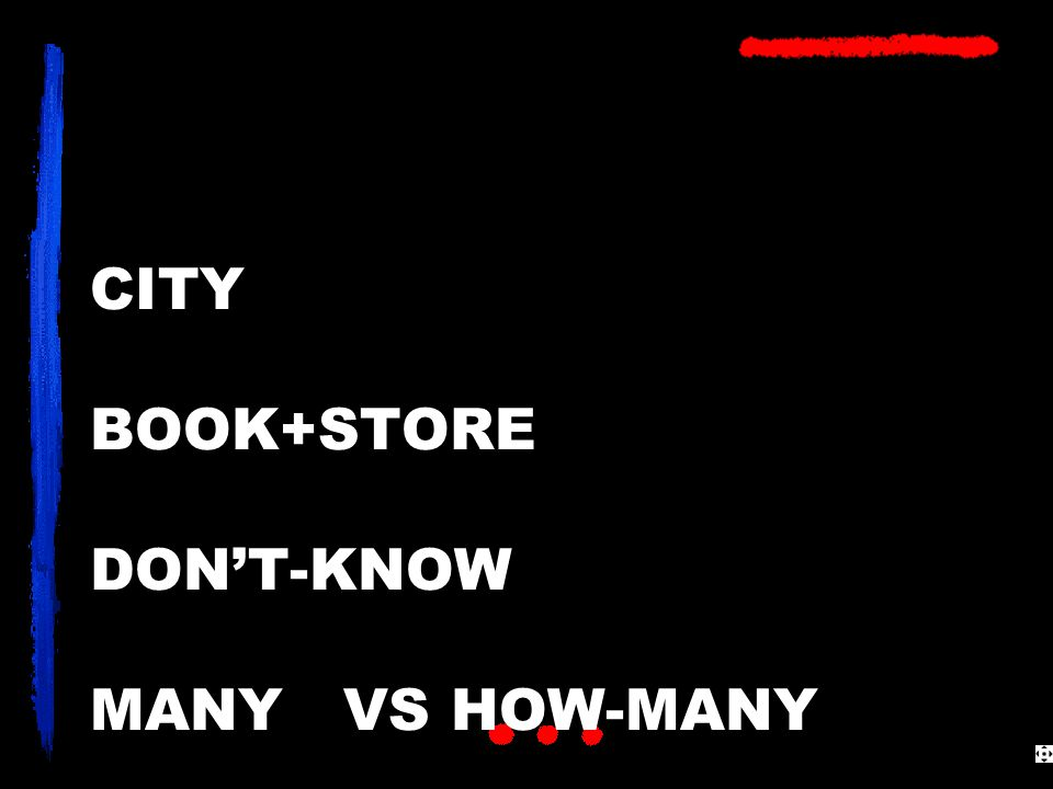 CITY BOOK+STORE DON'T-KNOW MANY VS HOW-MANY