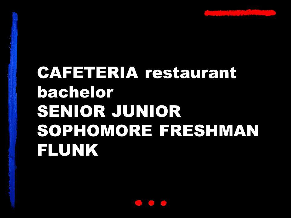 CAFETERIA restaurant bachelor SENIOR JUNIOR SOPHOMORE FRESHMAN FLUNK
