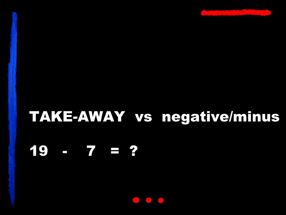 TAKE-AWAY vs negative/minus 19 - 7 = ?