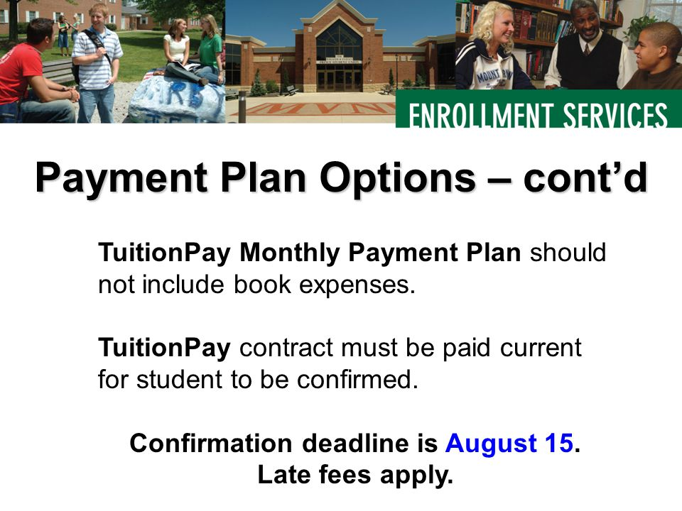 TuitionPay Monthly Payment Plan should not include book expenses.