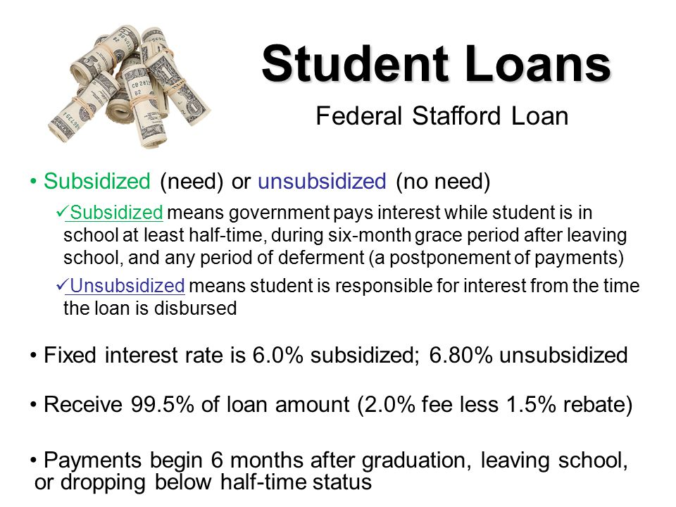 Student Loans Subsidized (need) or unsubsidized (no need) Subsidized means government pays interest while student is in school at least half-time, during six-month grace period after leaving school, and any period of deferment (a postponement of payments) Unsubsidized means student is responsible for interest from the time the loan is disbursed Fixed interest rate is 6.0% subsidized; 6.80% unsubsidized Receive 99.5% of loan amount (2.0% fee less 1.5% rebate) Payments begin 6 months after graduation, leaving school, or dropping below half-time status Federal Stafford Loan