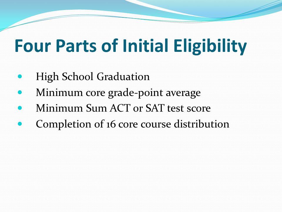 Four Parts of Initial Eligibility High School Graduation Minimum core grade-point average Minimum Sum ACT or SAT test score Completion of 16 core course distribution