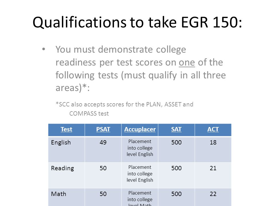 Qualifications to take EGR 150: You must demonstrate college readiness per test scores on one of the following tests (must qualify in all three areas)*: *SCC also accepts scores for the PLAN, ASSET and COMPASS test TestPSATAccuplacerSATACT English49 Placement into college level English 50018 Reading50 Placement into college level English 50021 Math50 Placement into college level Math 50022