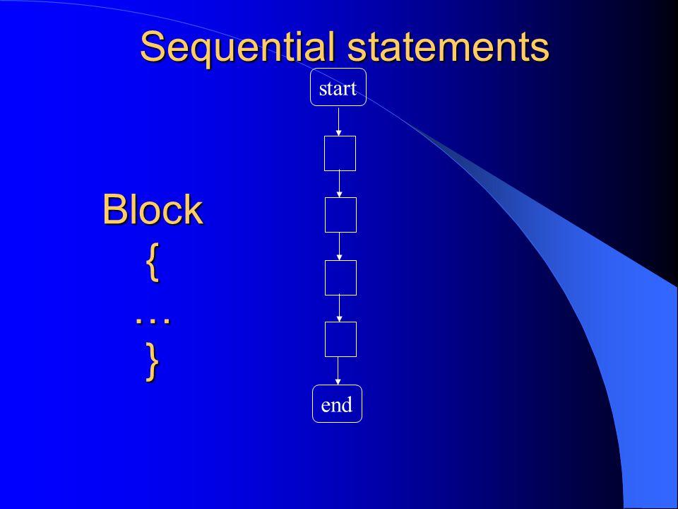Sequential statements start end Block{…}