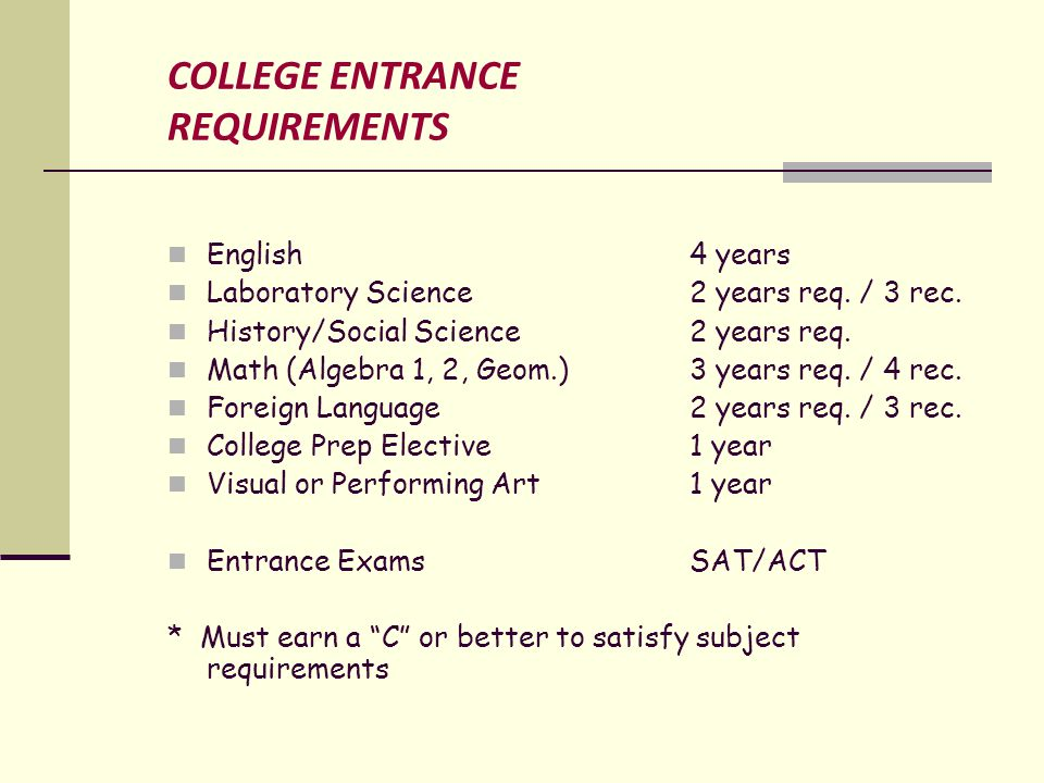 COLLEGE ENTRANCE REQUIREMENTS English 4 years Laboratory Science2 years req.