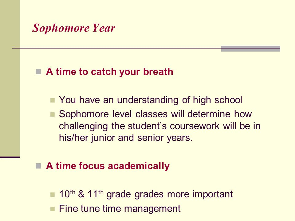 Sophomore Year A time to catch your breath You have an understanding of high school Sophomore level classes will determine how challenging the student's coursework will be in his/her junior and senior years.