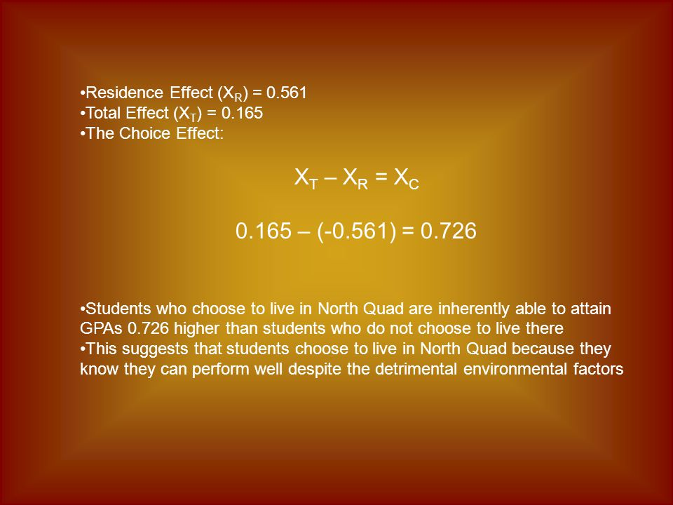 Residence Effect (X R ) = 0.561 Total Effect (X T ) = 0.165 The Choice Effect: X T – X R = X C 0.165 – (-0.561) = 0.726 Students who choose to live in North Quad are inherently able to attain GPAs 0.726 higher than students who do not choose to live there This suggests that students choose to live in North Quad because they know they can perform well despite the detrimental environmental factors