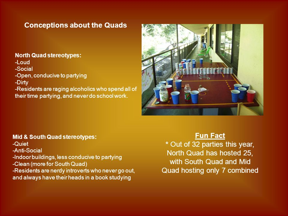 Conceptions about the Quads North Quad stereotypes: -Loud -Social -Open, conducive to partying -Dirty -Residents are raging alcoholics who spend all of their time partying, and never do school work.