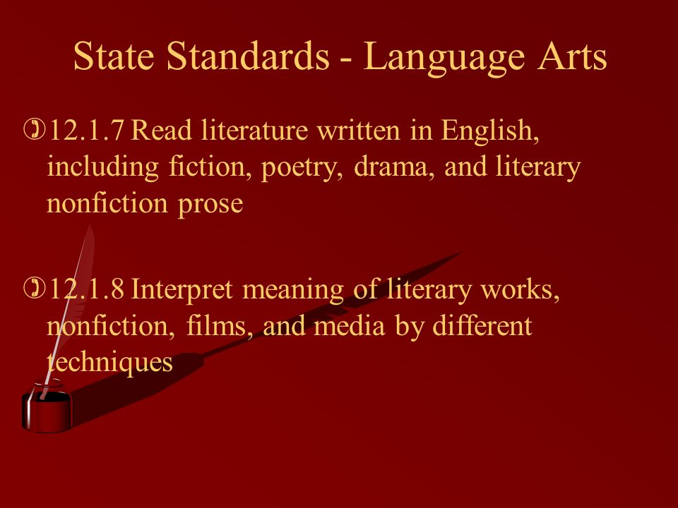 State Standards - Language Arts )12.1.7 Read literature written in English, including fiction, poetry, drama, and literary nonfiction prose )12.1.8 In