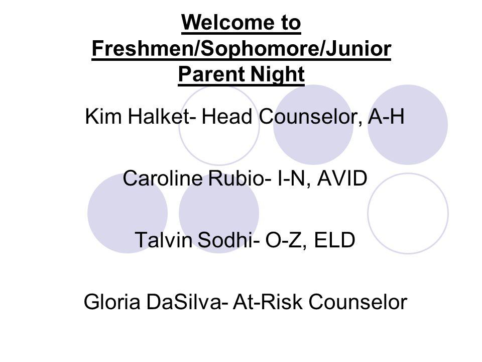 Welcome to Freshmen/Sophomore/Junior Parent Night Kim Halket- Head Counselor, A-H Caroline Rubio- I-N, AVID Talvin Sodhi- O-Z, ELD Gloria DaSilva- At-Risk Counselor