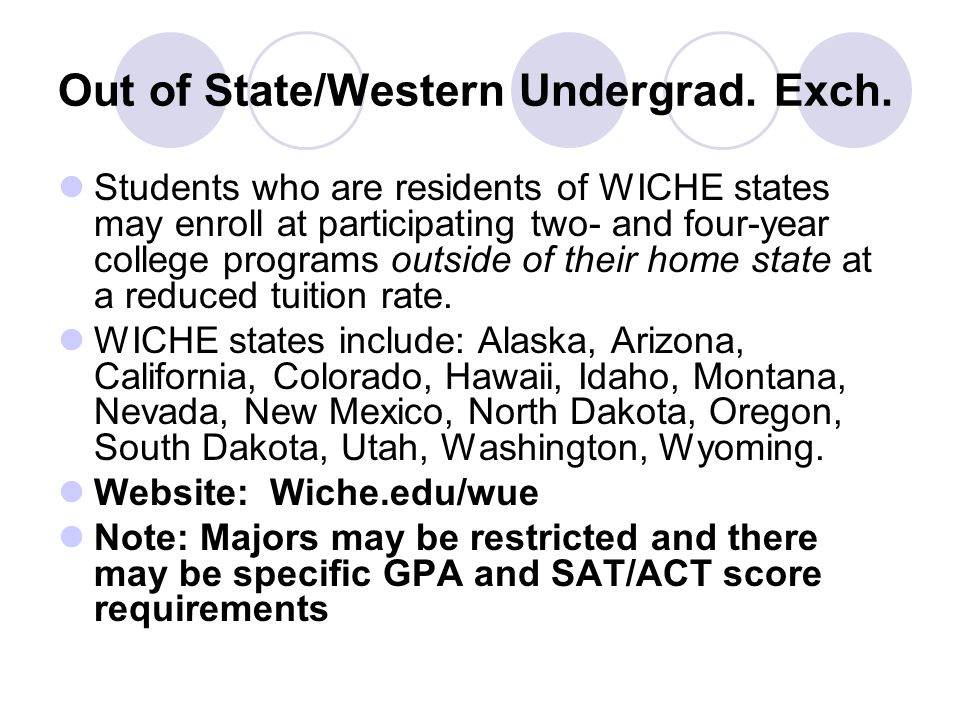 Out of State/Western Undergrad. Exch.