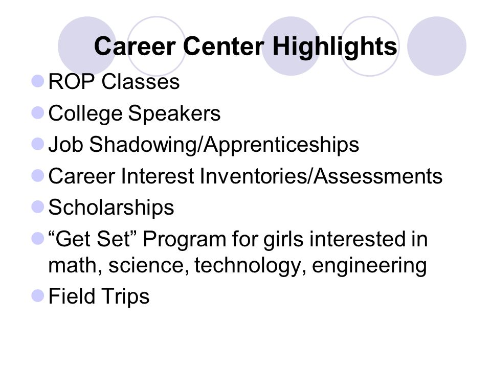 Career Center Highlights ROP Classes College Speakers Job Shadowing/Apprenticeships Career Interest Inventories/Assessments Scholarships Get Set Program for girls interested in math, science, technology, engineering Field Trips