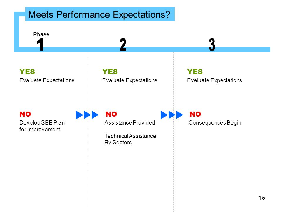 15 Meets Performance Expectations? Evaluate Expectations YES Evaluate Expectations YES Evaluate Expectations YES NO Develop SBE Plan for Improvement A