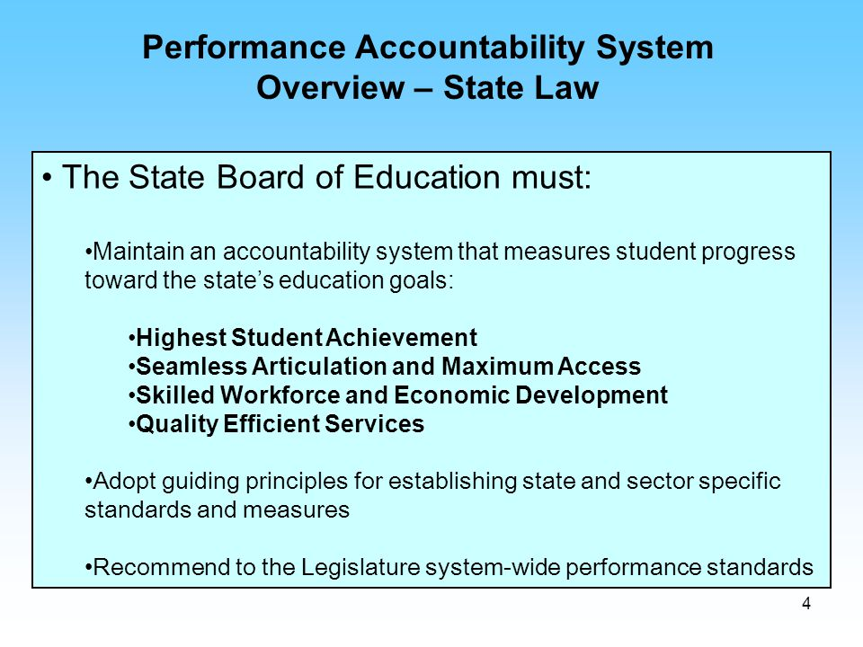 4 The State Board of Education must: Maintain an accountability system that measures student progress toward the state's education goals: Highest Stud