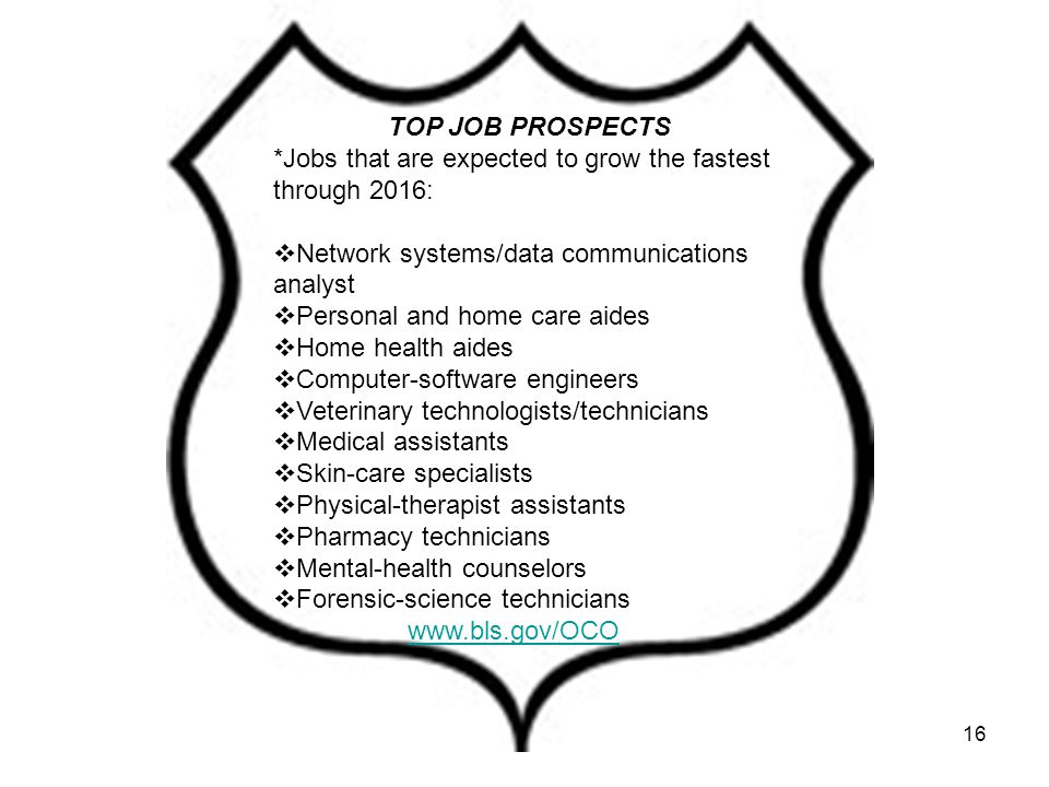 16 TOP JOB PROSPECTS *Jobs that are expected to grow the fastest through 2016:  Network systems/data communications analyst  Personal and home care aides  Home health aides  Computer-software engineers  Veterinary technologists/technicians  Medical assistants  Skin-care specialists  Physical-therapist assistants  Pharmacy technicians  Mental-health counselors  Forensic-science technicians www.bls.gov/OCO