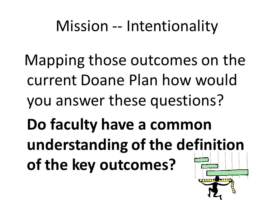 Mission -- Intentionality Mapping those outcomes on the current Doane Plan how would you answer these questions.