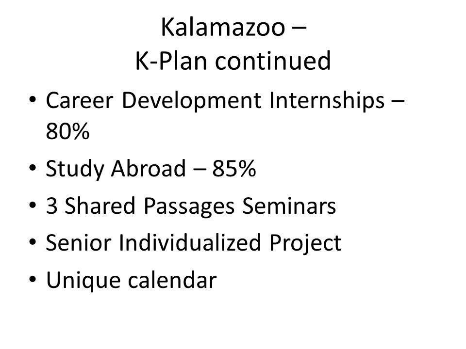 Kalamazoo – K-Plan continued Career Development Internships – 80% Study Abroad – 85% 3 Shared Passages Seminars Senior Individualized Project Unique c
