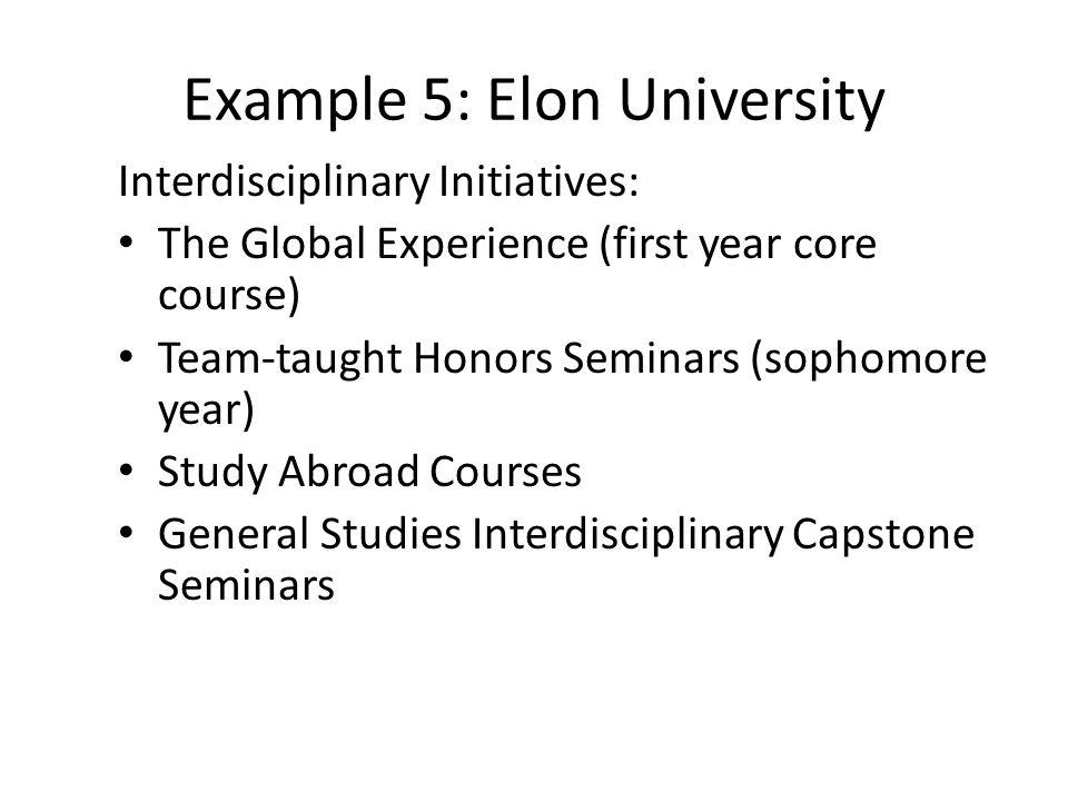Example 5: Elon University Interdisciplinary Initiatives: The Global Experience (first year core course) Team-taught Honors Seminars (sophomore year) Study Abroad Courses General Studies Interdisciplinary Capstone Seminars