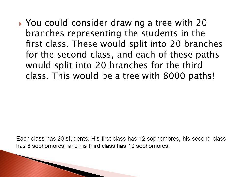  You could consider drawing a tree with 20 branches representing the students in the first class.