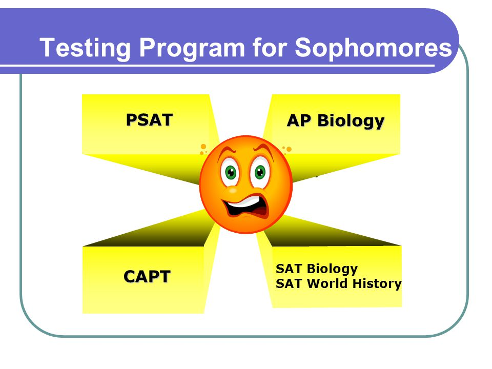 Testing Program for Sophomores PSAT CAPT AP Biology SAT Biology SAT World History