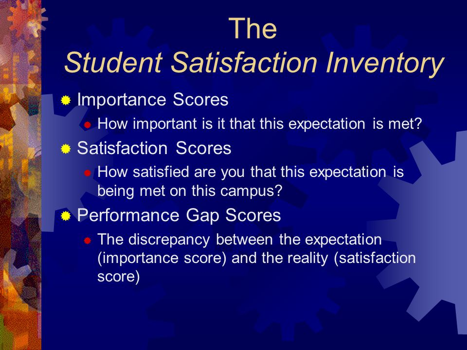 The Student Satisfaction Inventory  Importance Scores  How important is it that this expectation is met.