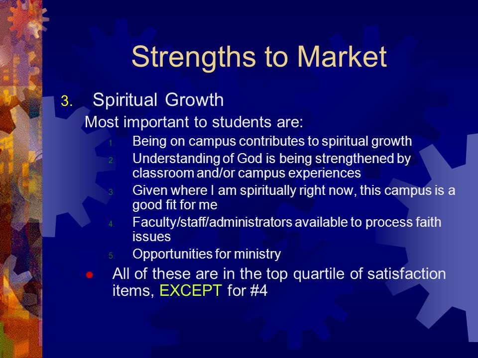 Strengths to Market 3. Spiritual Growth Most important to students are: 1.