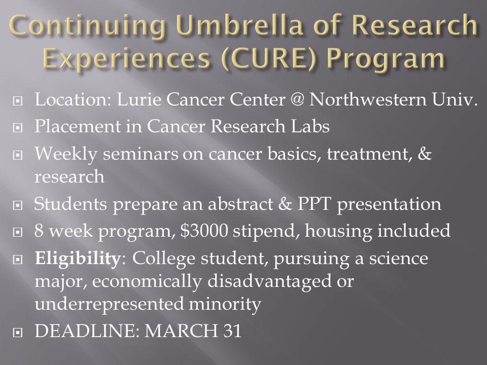  Location: Lurie Cancer Center @ Northwestern Univ.